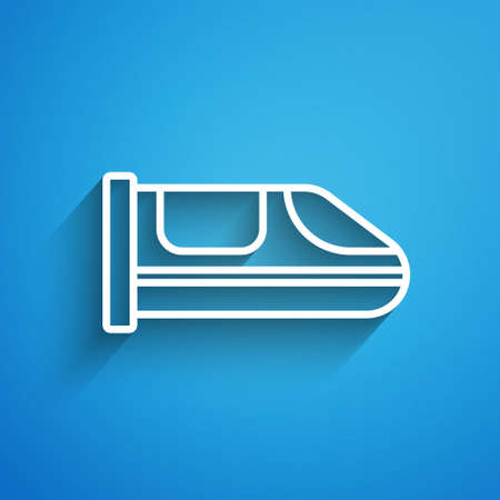 White line High-speed train icon isolated on blue background. Railroad travel and railway tourism. Subway or   streamlined fast train transport. Long shadow. Vector 矢量图像