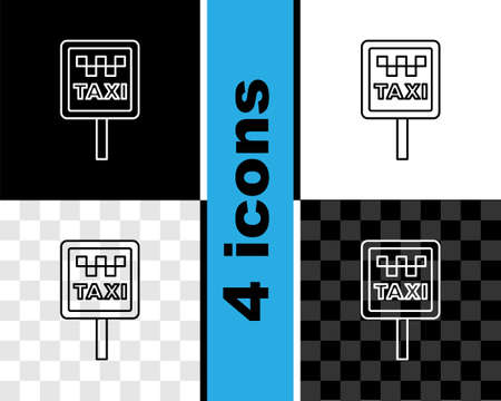 Set line Road sign for a taxi stand icon isolated on black and white, transparent background. Vector 矢量图像