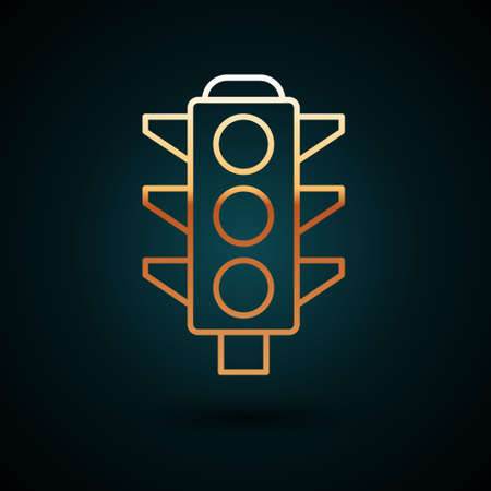 Gold line Traffic light icon isolated on dark blue background. Vector 矢量图像