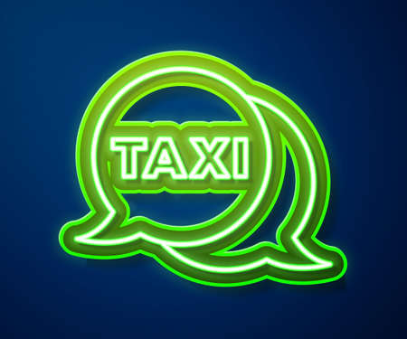 Glowing neon line Taxi call telephone service icon isolated on blue background. Speech bubble symbol. Taxi for smartphone. Vector 矢量图像