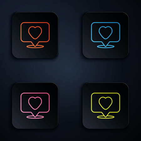 Color neon line Like and heart icon isolated on black background. Counter Notification Icon. Follower Insta. Set icons in square buttons. Vector