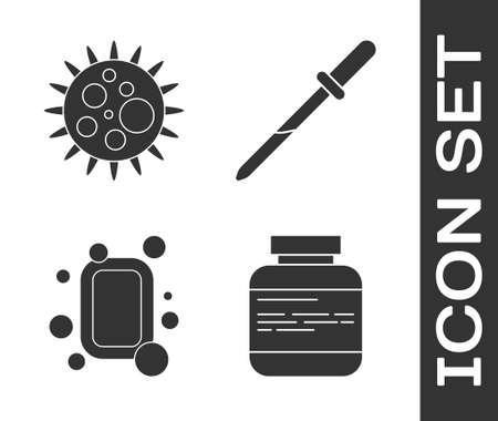 Set Medicine bottle and pills, Virus, Bar of soap and Pipette icon. Vector Illusztráció