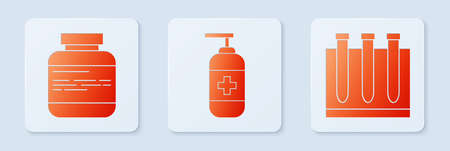 Set Bottle of liquid antibacterial soap, Medicine bottle and pills and Blood test and virus. White square button. Vector