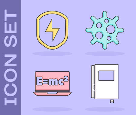 Set Book, Secure shield with lightning, Equation solution and Virus icon. Vector