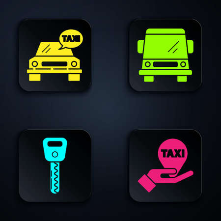 Set Hand on map pointer with taxi, Taxi car, Car key and Car. Black square button. Vector 向量圖像
