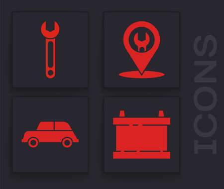 Set Car battery, Wrench, Car service and Car icon. Vector