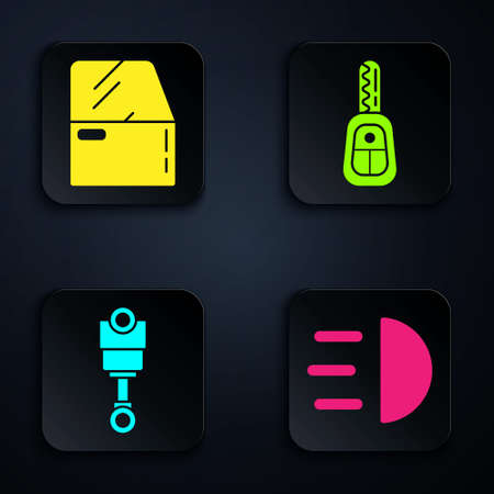 Set High beam, Car door, Engine piston and Car key with remote. Black square button. Vector 向量圖像