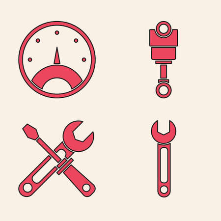 Set Wrench, Speedometer, Engine piston and Screwdriver and wrench tools icon. Vector