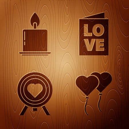 Set Balloons in form of heart, Burning candle, Heart in the center of darts target aim and Valentines day party flyer on wooden background. Vector Ilustração