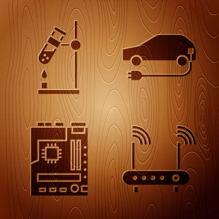 Set Router and wifi signal, Test tube flask on fire, Motherboard and Electric car on wooden background. Vector