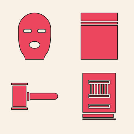 Set Law book, Thief mask, Plastic bag with ziplock and Judge gavel icon. Vector