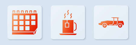 Set Cup of tea with tea bag, Calendar and Car. White square button. Vector