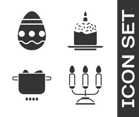 Set Candelabrum with candlesticks, Easter egg, Egg in hot pot and Easter cake and candle icon. Vector
