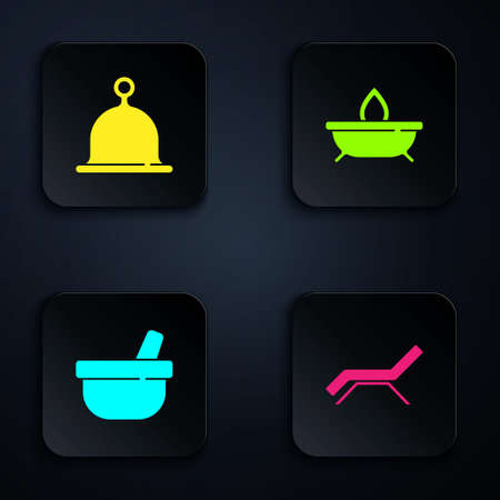 Set Sunbed and umbrella, Sauna hat, Mortar pestle and Aroma candle. Black square button. Vector