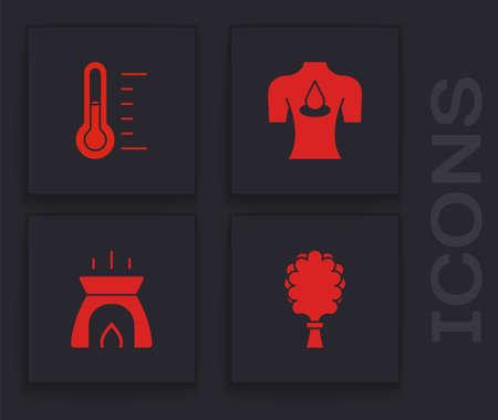 Set Sauna broom, thermometer, Massage with aroma oils and Aroma candle icon. Vector Ilustração