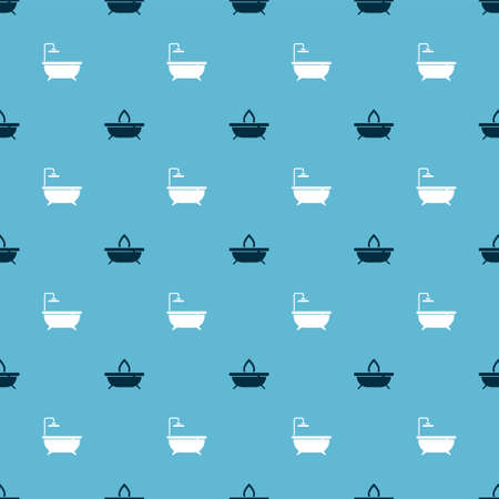 Set Aroma candle and Bathtub on seamless pattern. Vector