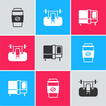 Set Coffee cup to go, Bench with barbel and Bed icon. Vector