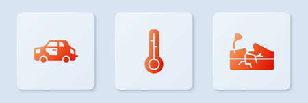 Set Meteorology thermometer, Car and Earthquake. White square button. Vector