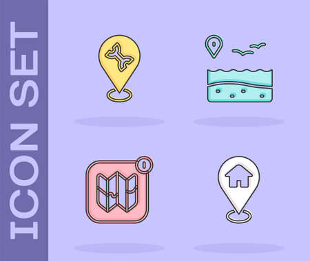 Set Location with house, Car service, Infographic of city map and beach icon. Vector