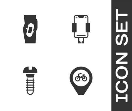 Set Location with bicycle, Plaster leg, Metallic screw and Mobile holder icon. Vector