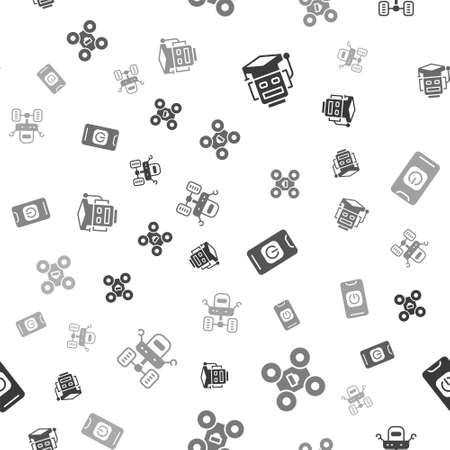 Set Robot, Drone, Turn off robot from phone and Mars rover on seamless pattern. Vector Illusztráció