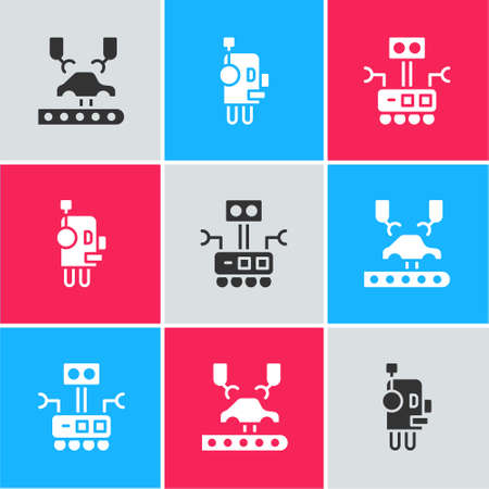 Set Robotic robot arm on factory, and icon. Vector