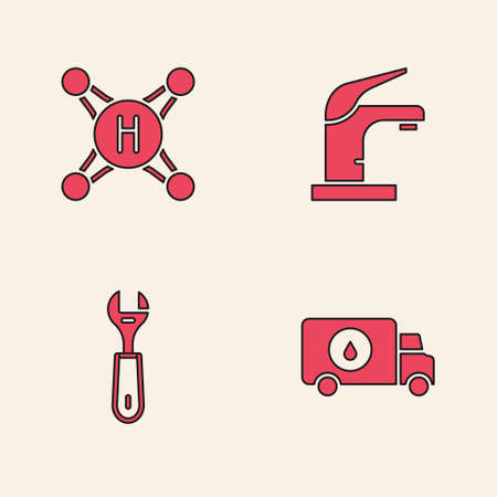 Set Plumber service car, Water tap, and Wrench spanner icon. Vector