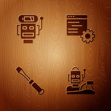 Set Robot humanoid driving a car, low battery charge, Screwdriver and Computer api interface on wooden background. Vector 向量圖像