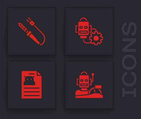 Set Robot humanoid driving a car, Soldering iron, setting and Technical specification icon. Vector