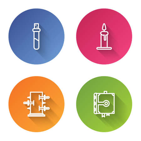 Set line Bottle with love potion, Burning candle in candlestick, Trunk for magic tricks and Ancient book. Color circle button. Vector Ilustração