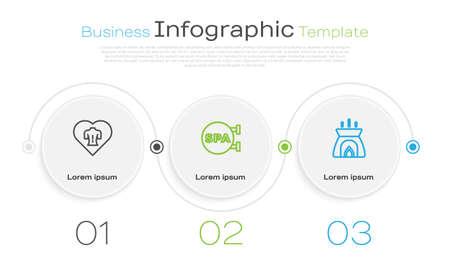 Set line Massage, Spa salon and Aroma candle. Business infographic template. Vector Ilustração