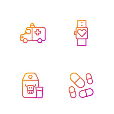 Set line Vitamin pill, Paper package for milk, Ambulance and emergency car and Smart watch. Gradient color icons. Vector