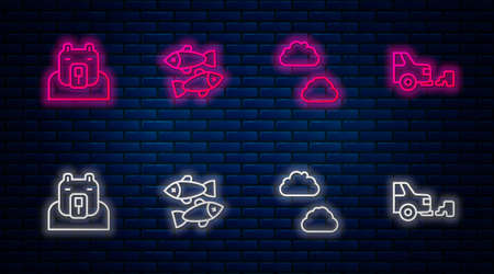 Set line Dead fish, Cloud, Polar bear head and Car exhaust. Glowing neon icon on brick wall. Vector