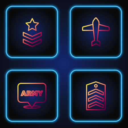 Set line Chevron, Military army, rank and Jet fighter. Gradient color icons. Vector