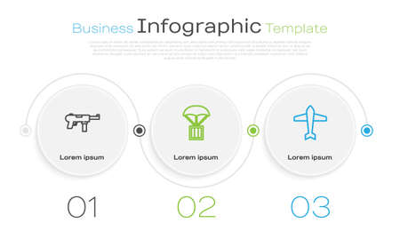 Set line Submachine gun M3, Airdrop box and Jet fighter. Business infographic template. Vector
