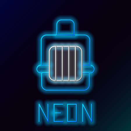Glowing neon line Pet carry case icon isolated on black background. Carrier for animals, dog and cat. Container for animals. Animal transport box. Colorful outline concept. Vector Illusztráció