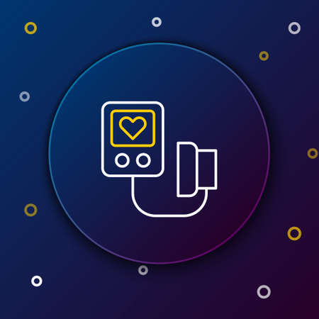 Line Blood pressure icon isolated on blue background. Colorful outline concept. Vector