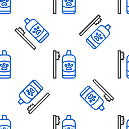 Line Dental hygiene for pets icon isolated seamless pattern on white background. Toothbrush and toothpaste. Teeth cleaning. Colorful outline concept. Vector