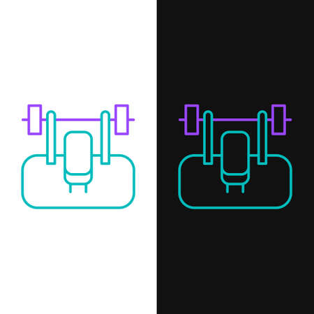 Line Bench with barbel icon isolated on white and black background. Gym equipment. Bodybuilding, powerlifting, fitness concept. Colorful outline concept. Vector Illusztráció