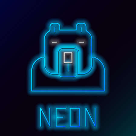 Glowing neon line Polar bear head icon isolated on black background. Colorful outline concept. Vector