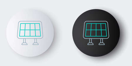 Line Solar energy panel icon isolated on grey background. Colorful outline concept. Vector