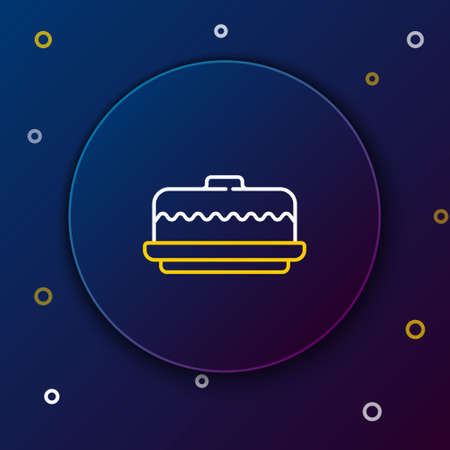 Line Cake icon isolated on blue background. Happy Birthday. Colorful outline concept. Vector