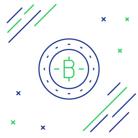 Line Cryptocurrency coin Bitcoin icon isolated on white background. Physical bit coin. Blockchain based secure crypto currency. Colorful outline concept. Vector Illusztráció