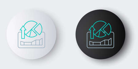 Line Stocks market growth graphs and money icon isolated on grey background. Monitor with stock charts arrow on screen. Colorful outline concept. Vector
