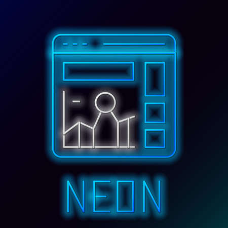 Glowing neon line Website with stocks market growth graphs and money icon isolated on black background. Monitor with stock charts arrow on screen. Colorful outline concept. Vector Illusztráció