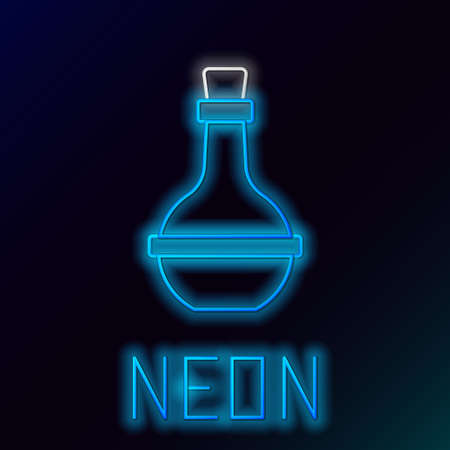 Glowing neon line Jewish wine bottle icon isolated on black background. Colorful outline concept. Vector