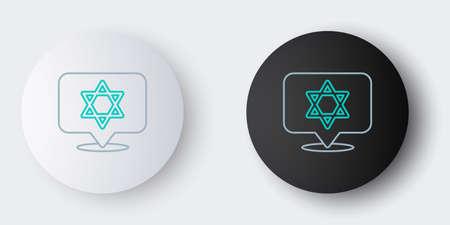 Line Star of David icon isolated on grey background. Jewish religion symbol. Symbol of Israel. Colorful outline concept. Vector Illusztráció