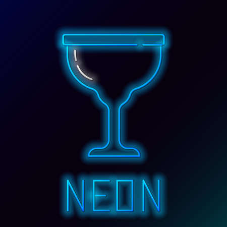 Glowing neon line Jewish goblet icon isolated on black background. Jewish wine cup for kiddush. Kiddush cup for Shabbat. Colorful outline concept. Vector