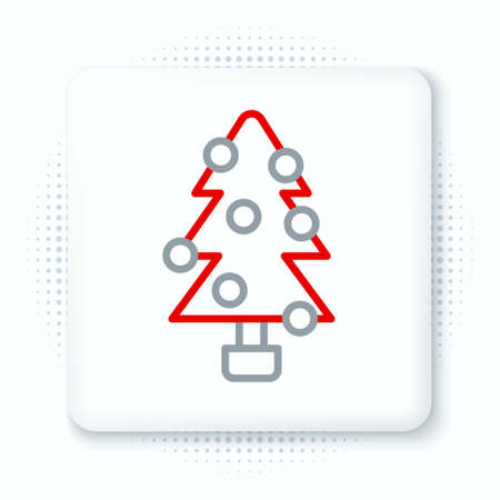 Line Christmas tree with decorations icon isolated on white background. Merry Christmas and Happy New Year. Colorful outline concept. Vector Illusztráció