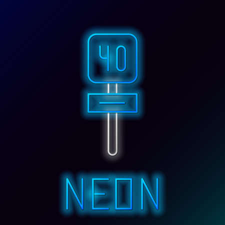 Glowing neon line Road traffic sign. Signpost icon isolated on black background. Pointer symbol. Isolated street information sign. Direction sign. Colorful outline concept. Vector